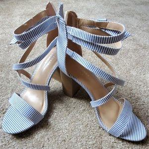 LC blue stripe heels